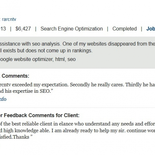 [Image: Long term Seo Analysis Job with Great Feedback]